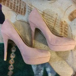 Blush pink suede pumps